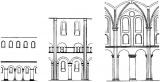 Схема членения стены среднего нефа церквей св. Михаила в Гильдесгейме, Нотр-Дам в Жюмьеже и собора в Вормсе.